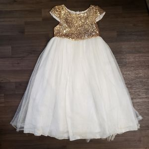 Formal White Gold Sequin Dress Weddings Special Oc